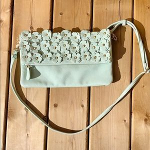 Aldo Aqua Floral Appliqué Handbag W/ Metal Detail